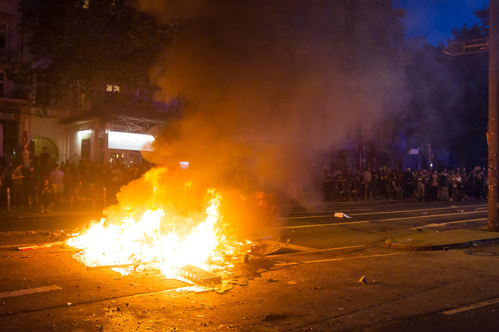 Burning barricade at G20 Riots